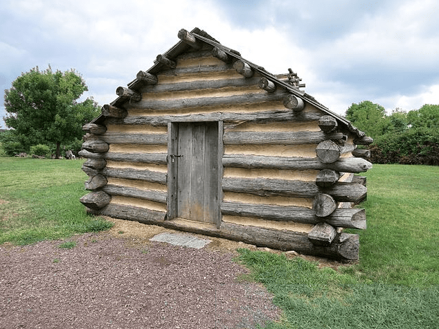photo of a replica cabin, Valley Forge National Park, Pennsylvania