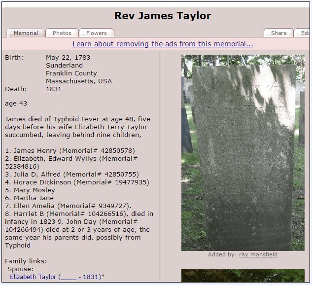 Findagrave memorial for Rev. James Taylor