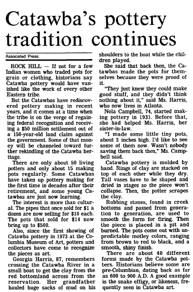 article about Catawba Indian pottery, Post and Courier newspaper article 23 November 1992
