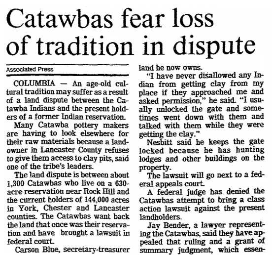 article about Catawba Indian pottery, Post and Courier newspaper article 26 December 1991