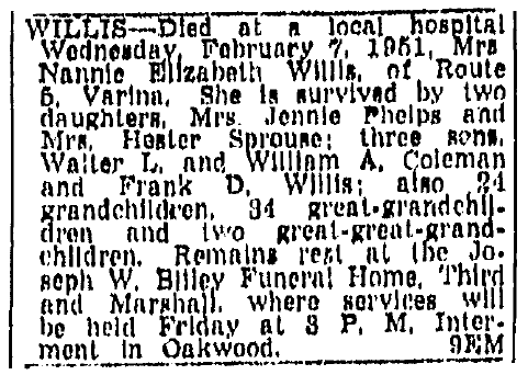 obituary for Nannie Willis, Richmond Times Dispatch newspaper article 9 February 1951