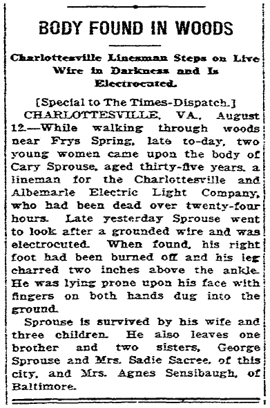 obituary for Cary Sprouse, Richmond Times Dispatch newspaper article 13 August 1917