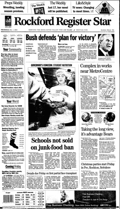 front page of the Rockford Register Star newspaper 1 December 2005