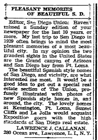 letter to the editor from Lawrence Callanan, San Diego Union newspaper article 24 August 1935