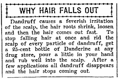 article about Danderine, Seattle Daily Times newspaper article 5 February 1915