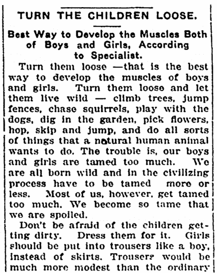 article offering parental advice, Springfield Daily News newspaper article 29 December 1915