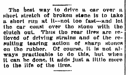 article providing driving tips, Times-Picayune newspaper article 27 December 1915