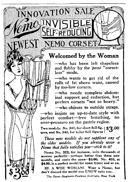 ad for corsets, Trenton Evening Times newspaper advertisement 11 January 1915