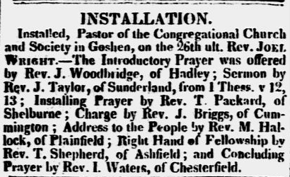 article about the installation of Rev. Joel Wright, Weekly Messenger newspaper article 25 October 1821
