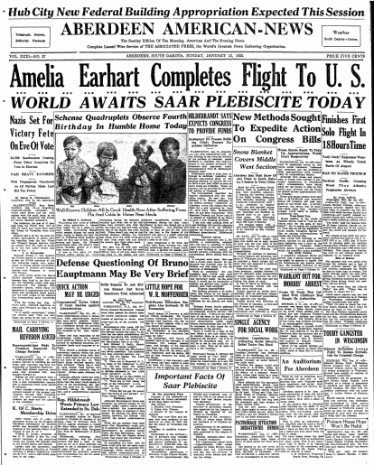 article about Amelia Earhart's solo flight from Hawaii to California in 1935, Aberdeen Daily News newspaper article 13 January 1935
