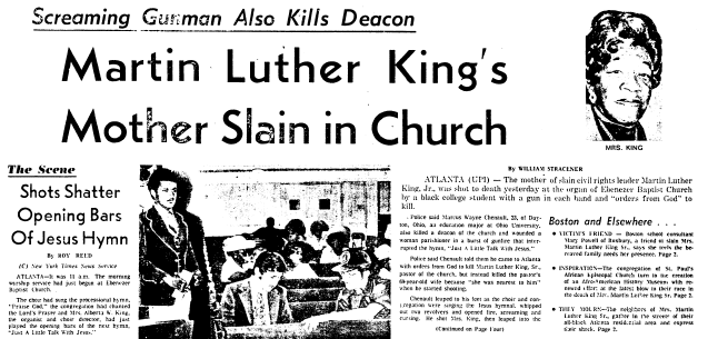 article about the murder of Alberta King, wife of Rev. King, Sr. and mother of Dr. Martin Luther King, Jr., Boston Herald newspaper article 1 July 1974
