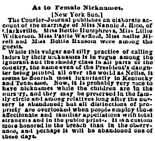 article about nicknames, Cincinnati Daily Enquirer newspaper article 5 March 1875