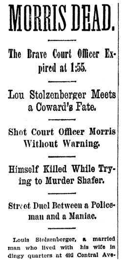 article about Louis Stolzenberger, Cincinnati Post newspaper article 28 February 1895