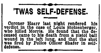 article about Stolzenberger and Shafer, Cincinnati Post newspaper article 2 March 1895