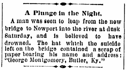 article about George Montgomery, Cincinnati Post newspaper article 18 April 1892