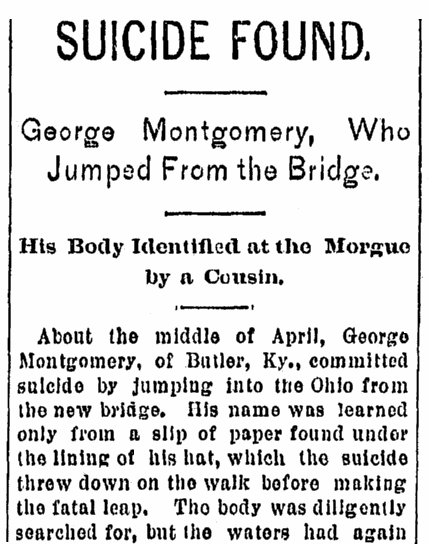 article about George Montgomery, Cincinnati Post newspaper article 25 May 1892