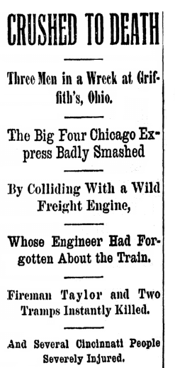 article about a train wreck, Cincinnati Post newspaper article 23 July 1894