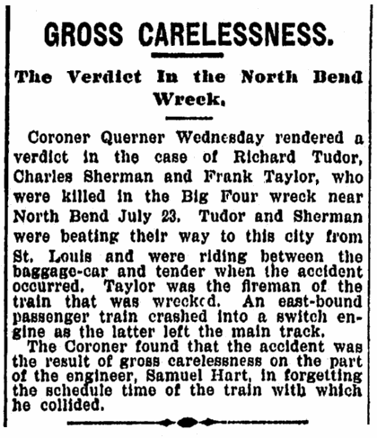 article about a train wreck, Cincinnati Post newspaper article 12 September 1894
