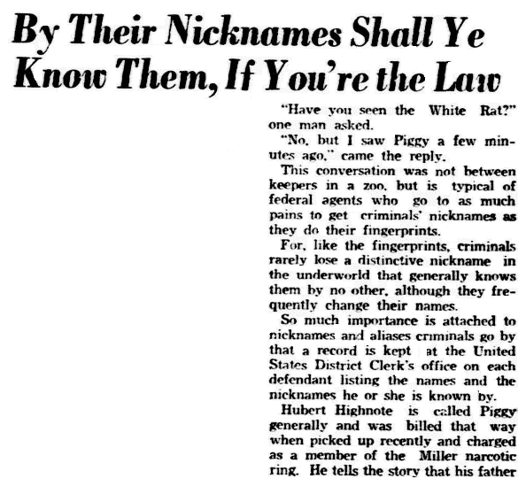 article about criminals' nicknames, Dallas Morning News newspaper article 23 December 1938