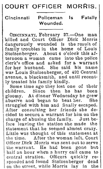 article about Stolzenberger shooting, Evansville Courier and Press newspaper article 28 February 1895