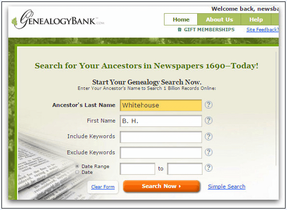 screenshot of GenealogyBank's search box showing a search for B. H. Whitehouse