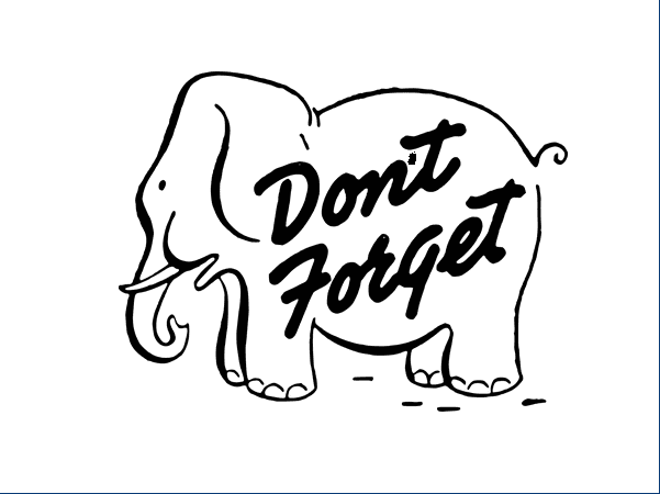"""Illustration: a drawing of an elephant with the caption """"Don't forget"""""""