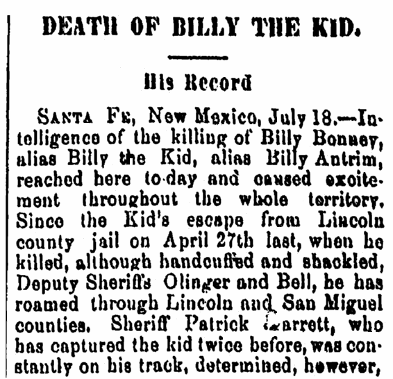 obituary for Billy the Kid, Kalamazoo Gazette newspaper article 22 July 1881