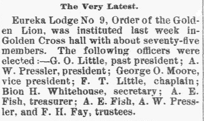 article about the Masonic lodge, Eureka Lodge No. 9, Order of the Golden Lion, New Hampshire Sentinel newspaper article 4 February 1891