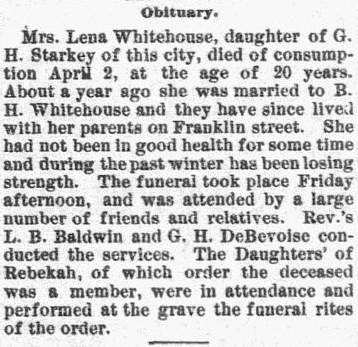 obituary for Lena Whitehouse, New Hampshire Sentinel newspaper article 9 April 1890