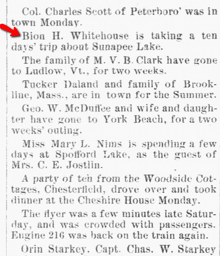 article about Bion Whitehouse, New Hampshire Sentinel newspaper article 5 August 1891