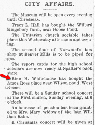 article about Bion Whitehouse, New Hampshire Sentinel newspaper article 18 December 1889