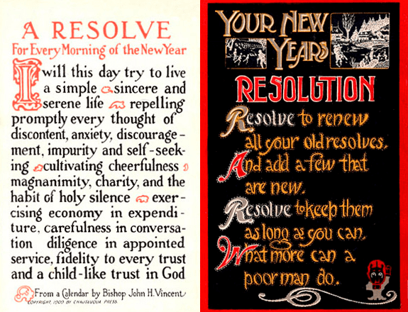 Photo: New Year's resolutions postcards from the early 20th century