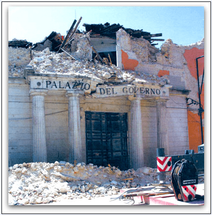 Photo: the Italian State Archives L'Aquila damaged by an earthquake in 2009