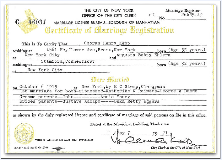marriage certificate for George Henry Kemp and Augusta Betty Ehlers