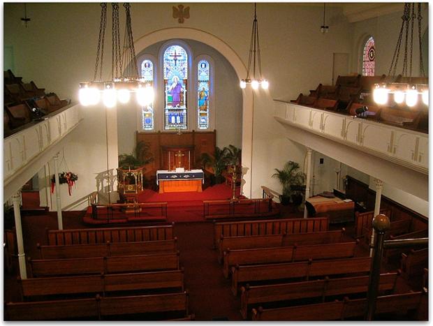 Photo: the altar in St. John's Lutheran Church, New York, New York