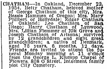 obituary for Betty Chatham, Sacramento Bee newspaper article 24 December 1954