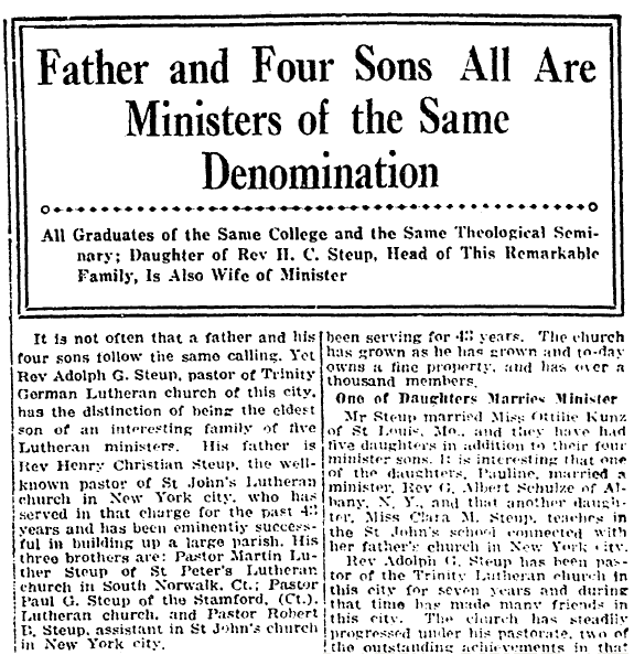 article about the five members of the Steup family who were ministers, Springfield Daily News newspaper article 2 March 1918