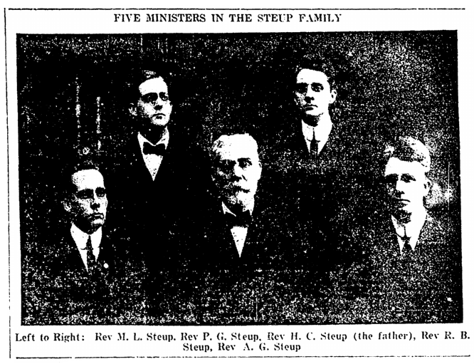 photo of the five men of the Steup family who were ministers, Springfield Daily News newspaper article 2 March 1918