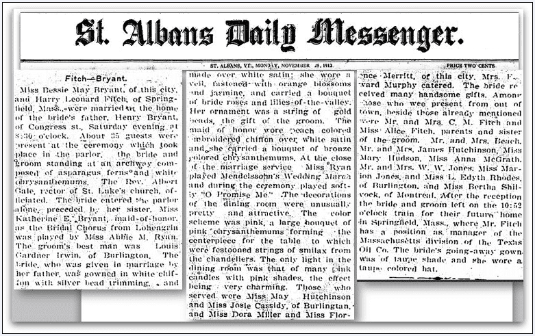 article about the wedding of Bessie M. Bryant and Henry L. Fitch, Saint Albans Daily Messenger newspaper article 25 November 1912