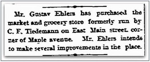 article about Gustav Ehlers, Stamford Advocate newspaper article 19 September 1890