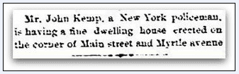 article about John Kemp, Stamford Advocate newspaper article 4 December 1885