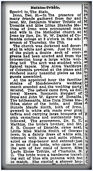marriage announcement for Benjamin Walter Tribble and Lilian Blanche Mathias, State newspaper article 31 December 1906