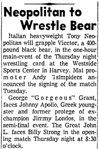 article about professional wrestlers, Times-Picayune newspaper article 14 February 1962