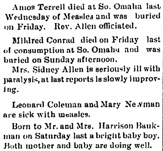 death and birth notices, Afro-American Sentinel newspaper article 15 May 1897