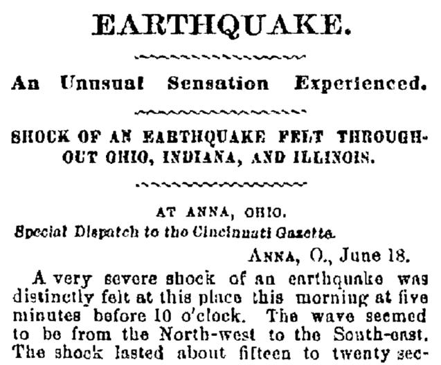 article about an earthquake, Cincinnati Daily Gazette newspaper article 19 June 1875