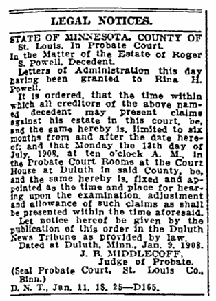 probate notice for the estate of Roger Powell, Duluth News-Tribune newspaper article 25 January 1908