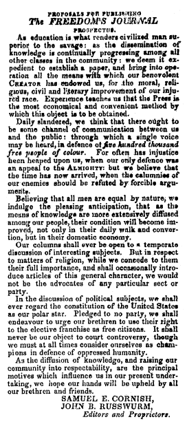 Proposals for Publishing The Freedom's Journal, Freedom's Journal newspaper article 16 March 1827