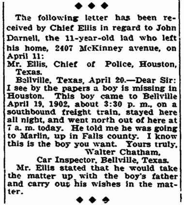 article about Walter Chatham, Houston Chronicle newspaper article 21 April 1902