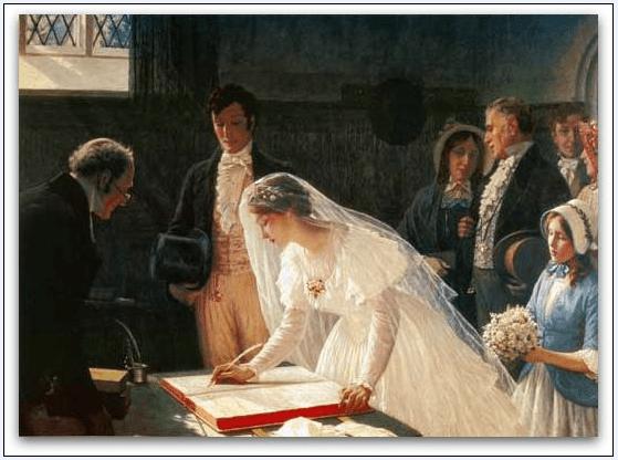 "Painting: ""The Wedding Register,"" Edmund Blair Leighton, 1920"