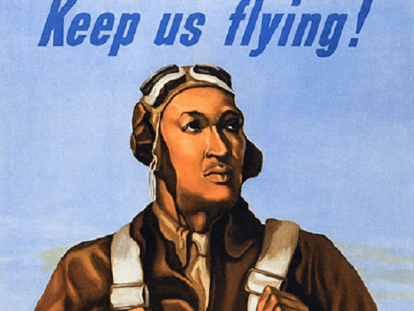 Illustration: WWII war bonds poster featuring a Tuskegee Airman, 1943. Source: Wikimedia Commons.